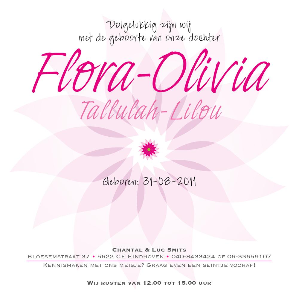 Geboortekaartje Flora Olivia
